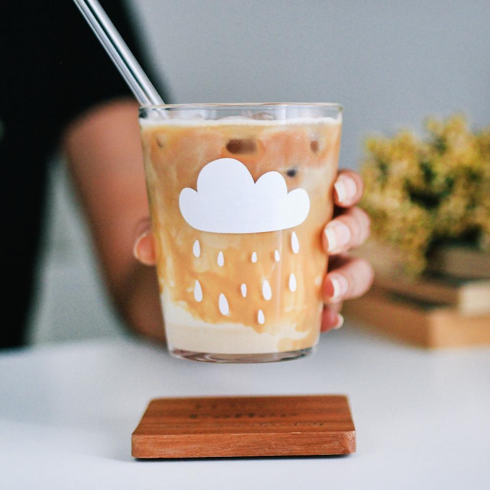 كوب قزاز غيم مطر طريقة عمل قهوة الباردة كوب قهوة زجاجي أكواب شفافة