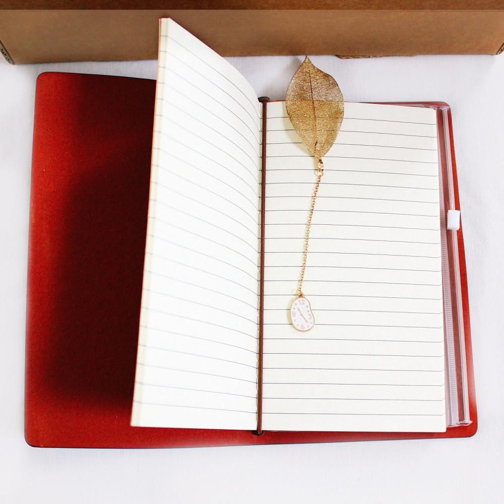 هدايا جاهزة هدية عيد الميلاد هدية رجالية نسائي دفتر جلد بني فاصل كتاب