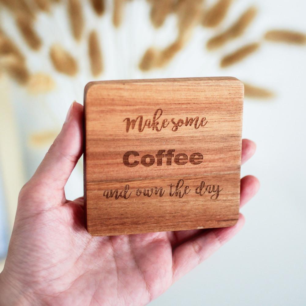 هدية لمحبين القهوة عشاق القهوة اقتباسات لعبارات قهوة كوستر خشب