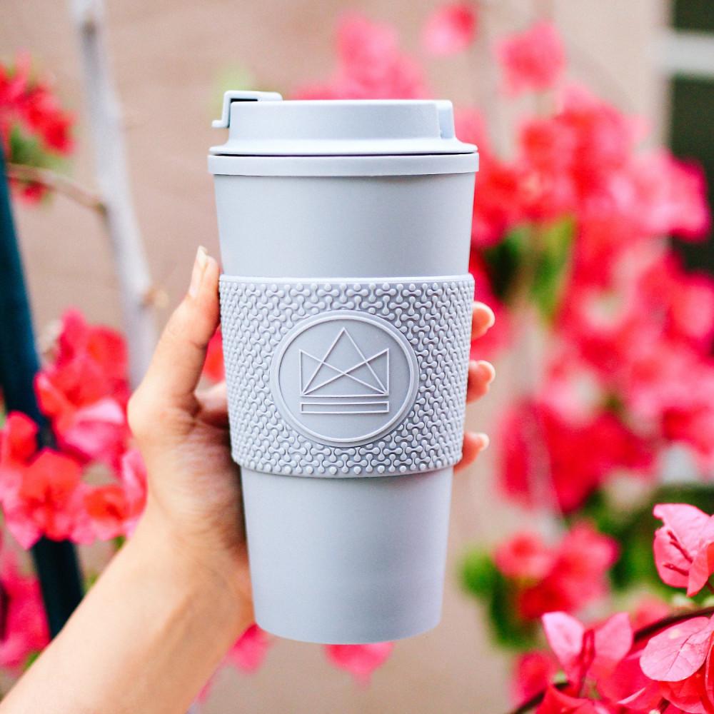 كوب قهوة حافظ للحرارة مانع للتسريب لون رمادي أدوات القهوة المختصة