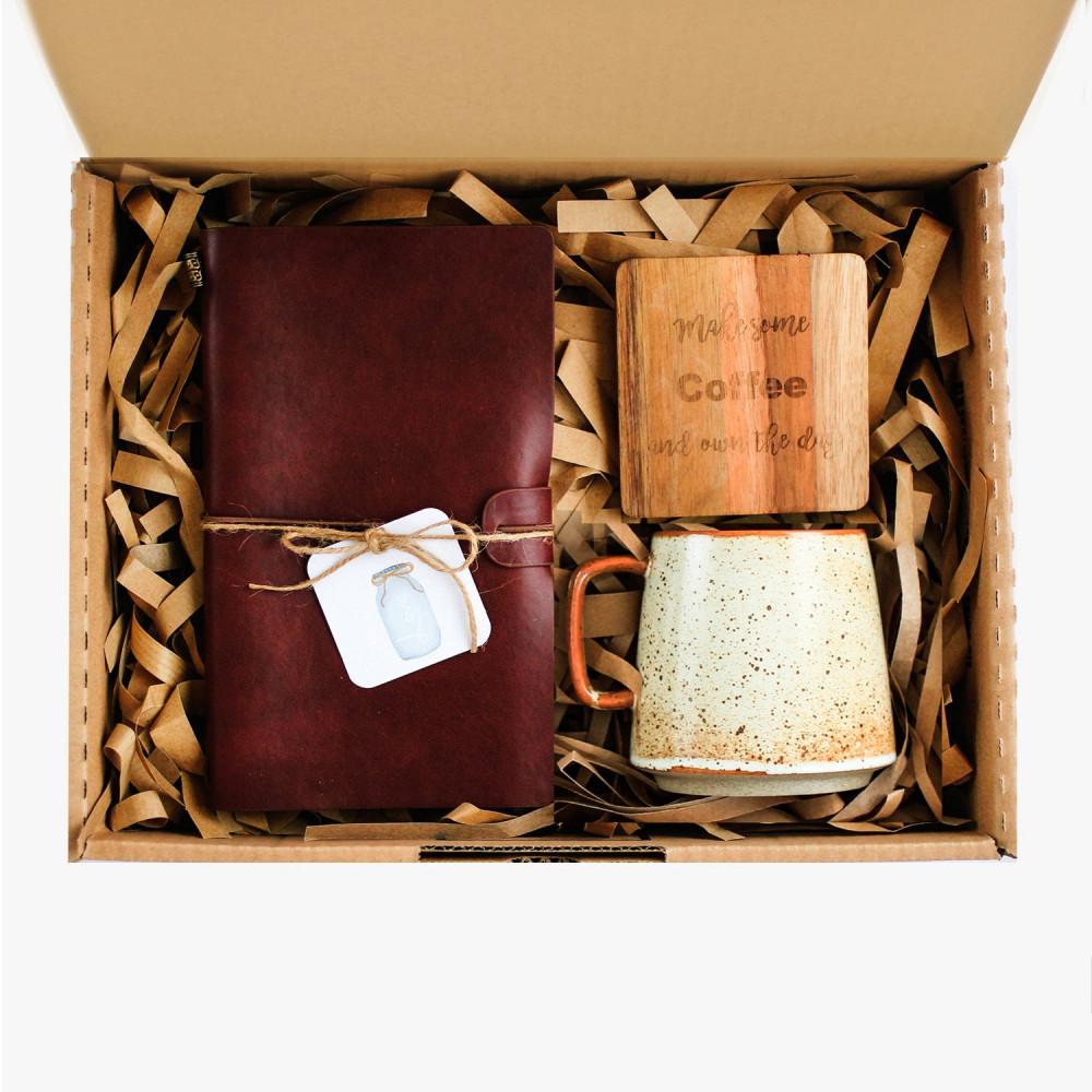 هدية لمحبين القهوة عشاق القهوة دفتر ملاحظات جلد بني كوب قهوة شغل يدوي