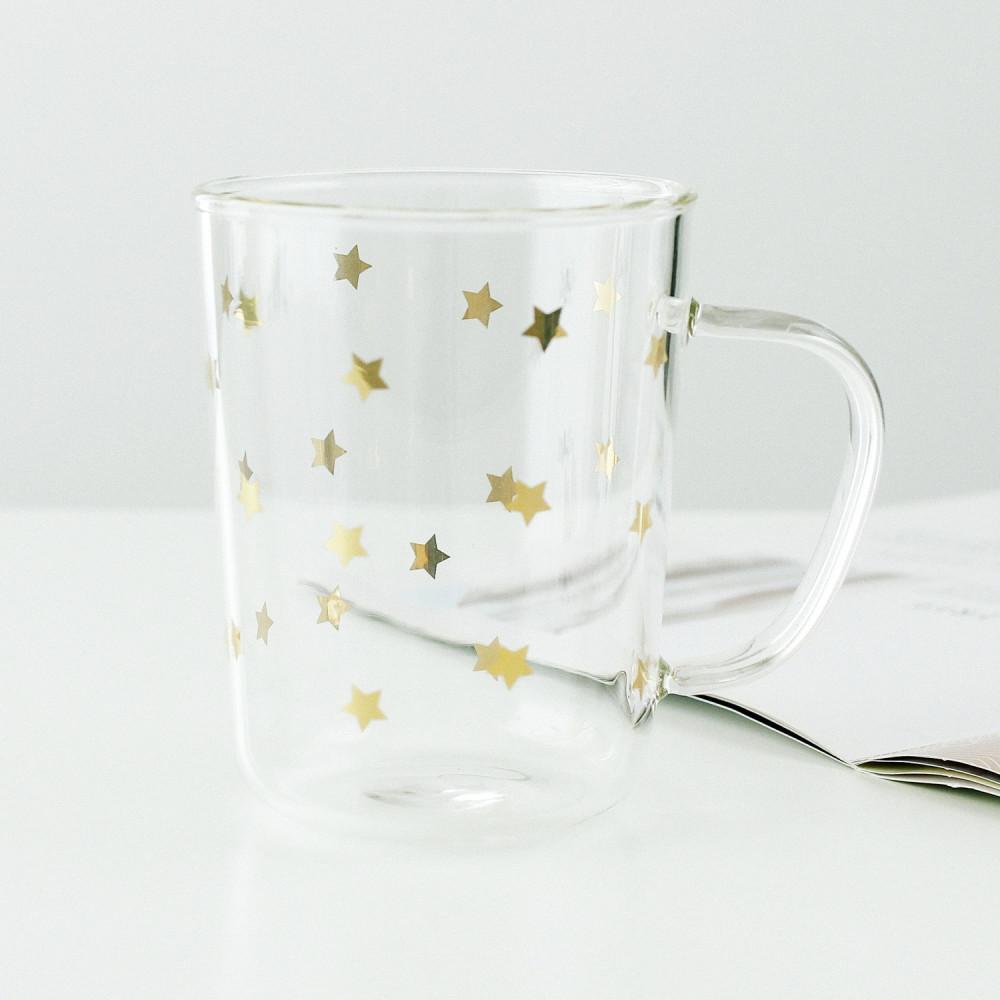 كوب قهوة شاي زجاج لون ذهبي مع غطاء مانع للتسريب مزاز زجاج متجر قهوة
