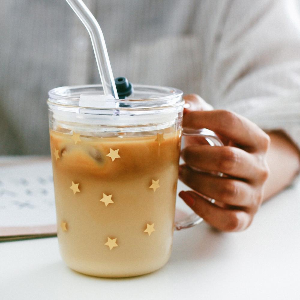 كوب قزاز لون ذهبي نجوم مانع للتسريب كوب لحفظ القهوة كوب زجاج بغطاء