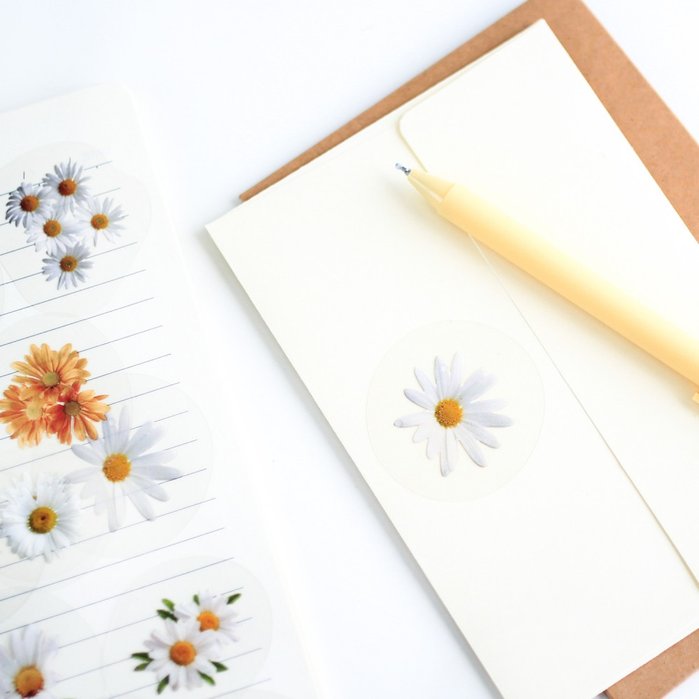 ستيكرات ملصقات زهور لون أصفر وردي أبيض ملصقات لتزيين الدفاتر الأجندة
