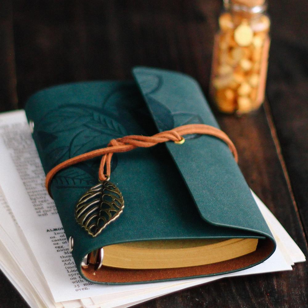 دفاتر جلد فنتج لون أخضر دفاتر ملاحظات مذكرات أجندة دفتر صغير متجر