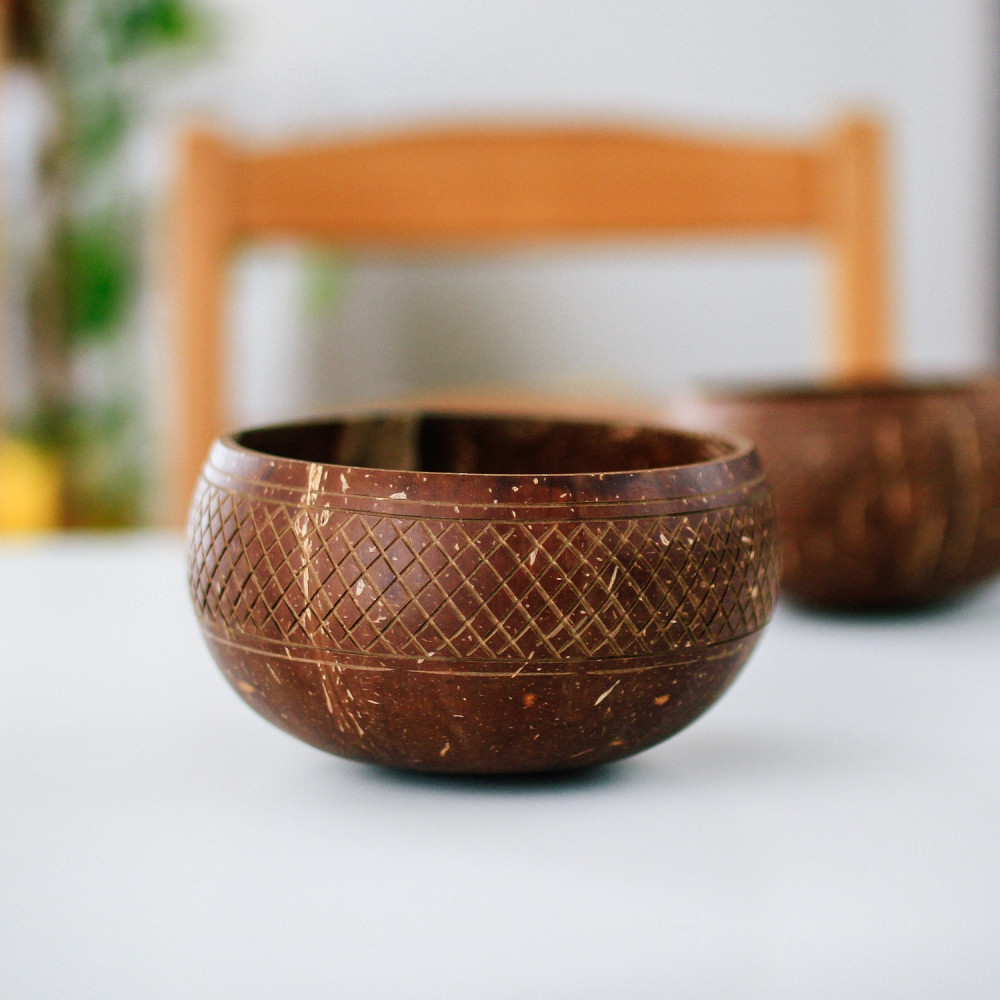 متجر نباتي فيقن بوهيمي زبدية وعاء جوز الهند الطبيعي أواني خشبيات متجر