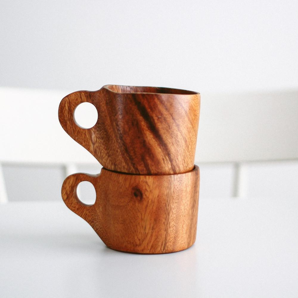 كوب خشب الأكاسيا كوب قهوة أواني خشبية ديكور ركن القهوة أكواب قهوة متجر