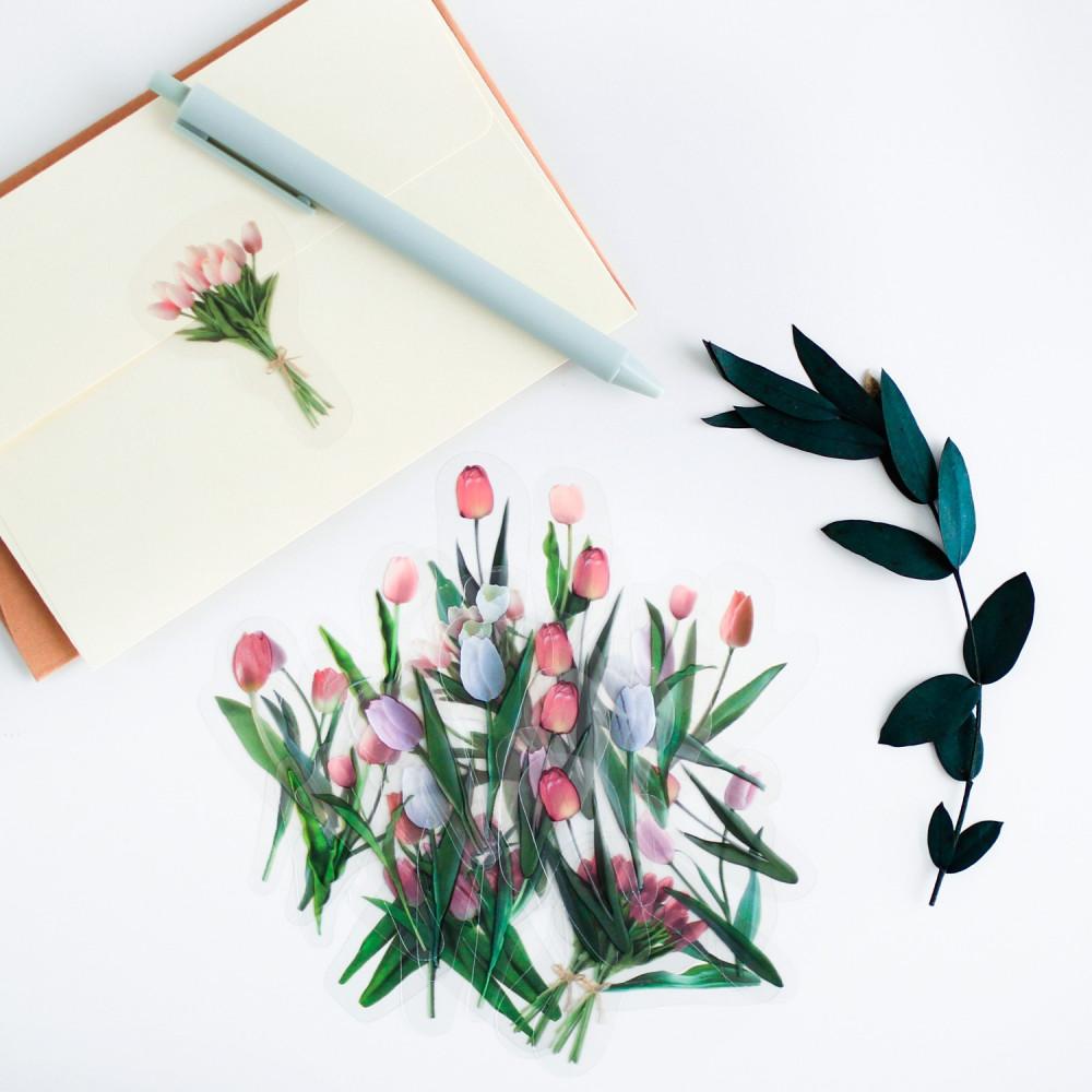ستيكر ملصق زهور روز لون أحمر وردي ملصقات لتزيين الدفاتر الأجندة متجر