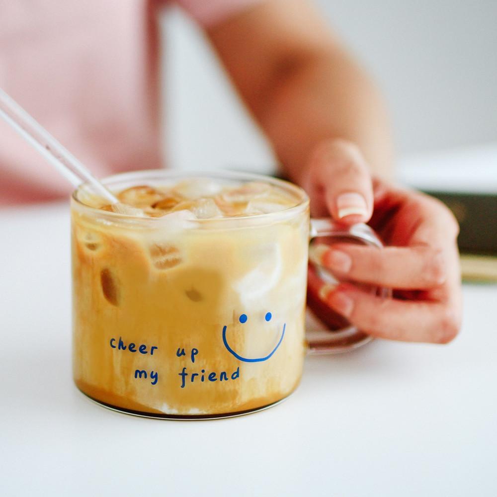 كوب آيسد كوفي كوب قهوة زجاجي كوب بممسك cheer up كأس قهوة بستاشيو لاتيه