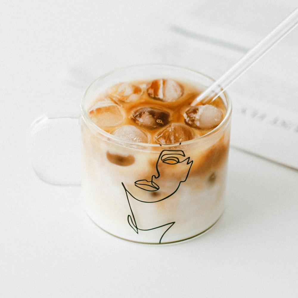 أكواب زجاج كبيرة كوب قهوة زجاجي قزاز شفاف أكواب للقهوه كأس رسم يدوي