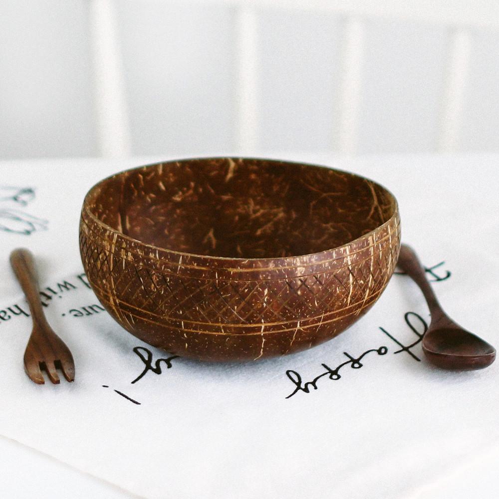 متجر نباتي فيقن فيجن يوقا زبدية وعاء جوز الهند الطبيعي أواني خشب متجر