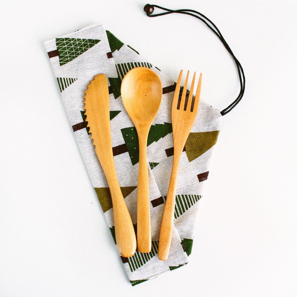 ملاعق خشبية ملعقة شوكة سكين خشب أدوات السفر أدوات سفرة أواني منزلية