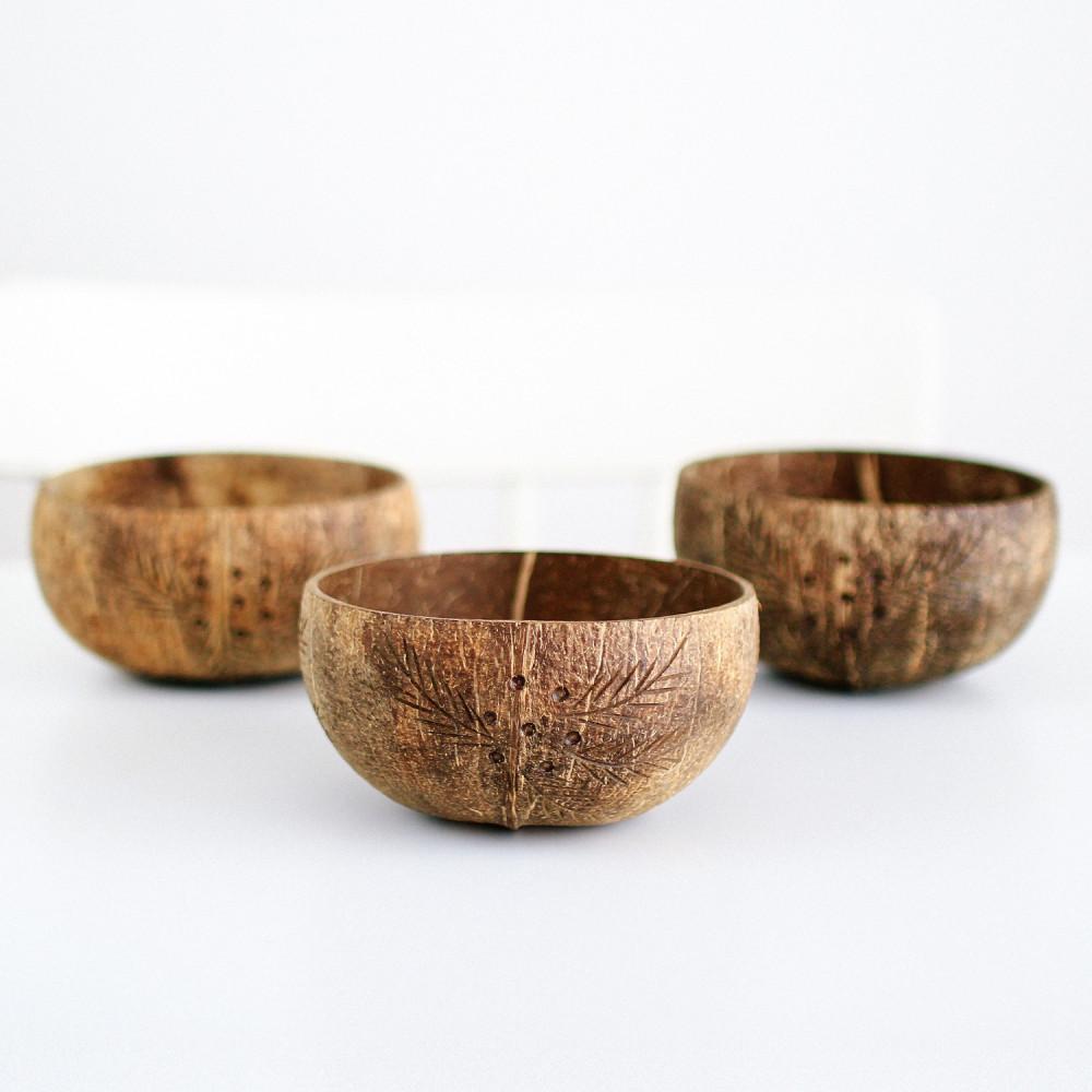 صحن جوز الهند سموذي بول أواني خشبية coconut bowls متجر نباتي فيقن