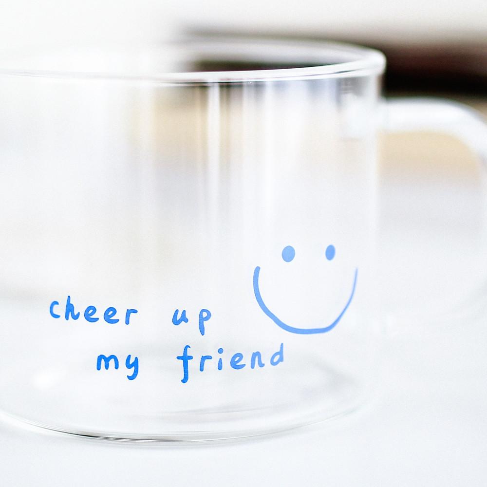 كوب آيسد كوفي كوب قهوة زجاجي كوب بممسك cheer up كأس قهوة سبانش لاتيه