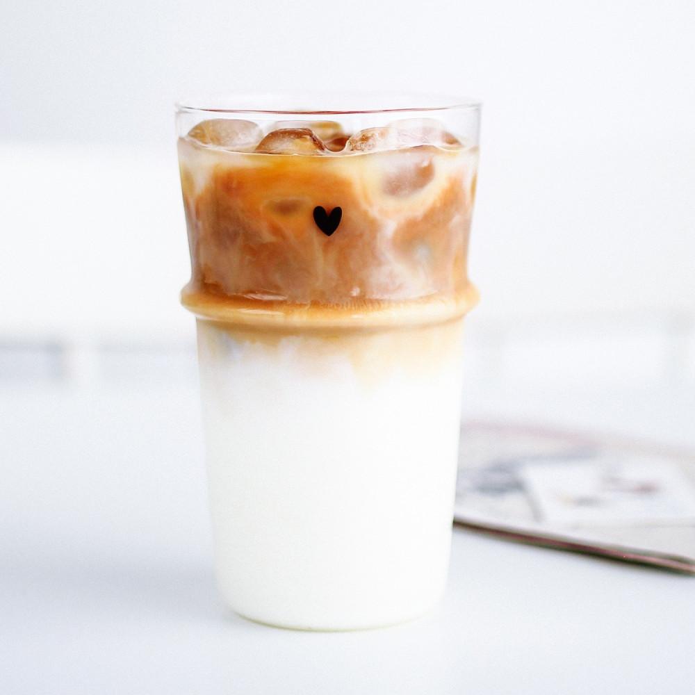 كأس آيسد لاتيه كوب زجاجي للقهوة كوب طويل زجاجي كوب قهوة باردة بستاشيو
