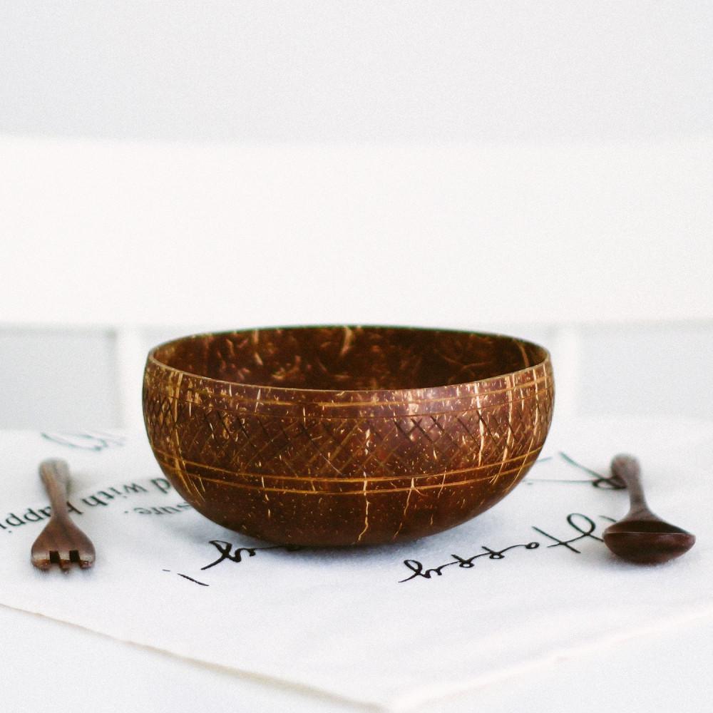متجر نباتي فيقن بوهيمي زبدية وعاء جوز الهند الطبيعي أواني خشب متجر