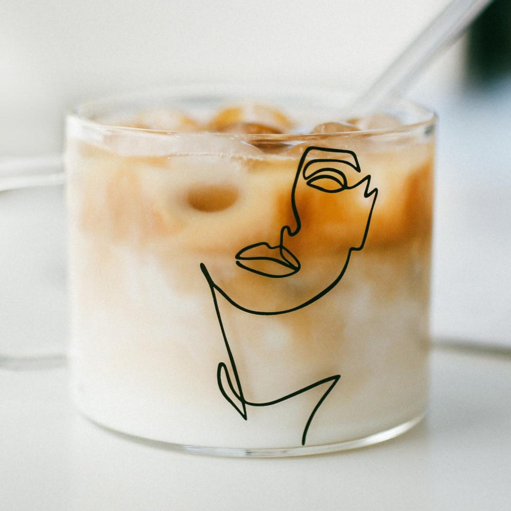 أكواب زجاج كبيرة كوب قهوة زجاجي قزاز شفاف أكواب للقهوه رسم يدوي متجر