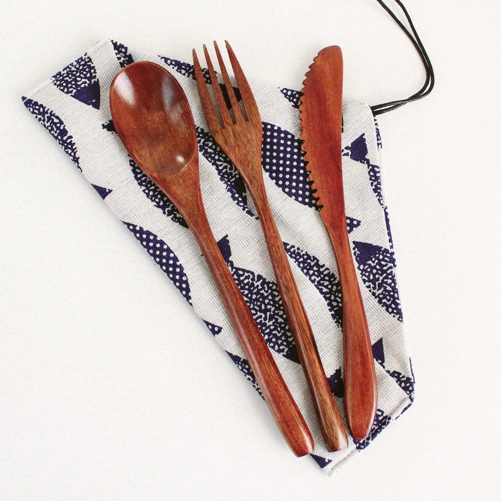 أدوات هايكنج حقيبة السفر طقم خشب نباتي نباتيين فيقن فيجن أدوات الطعام