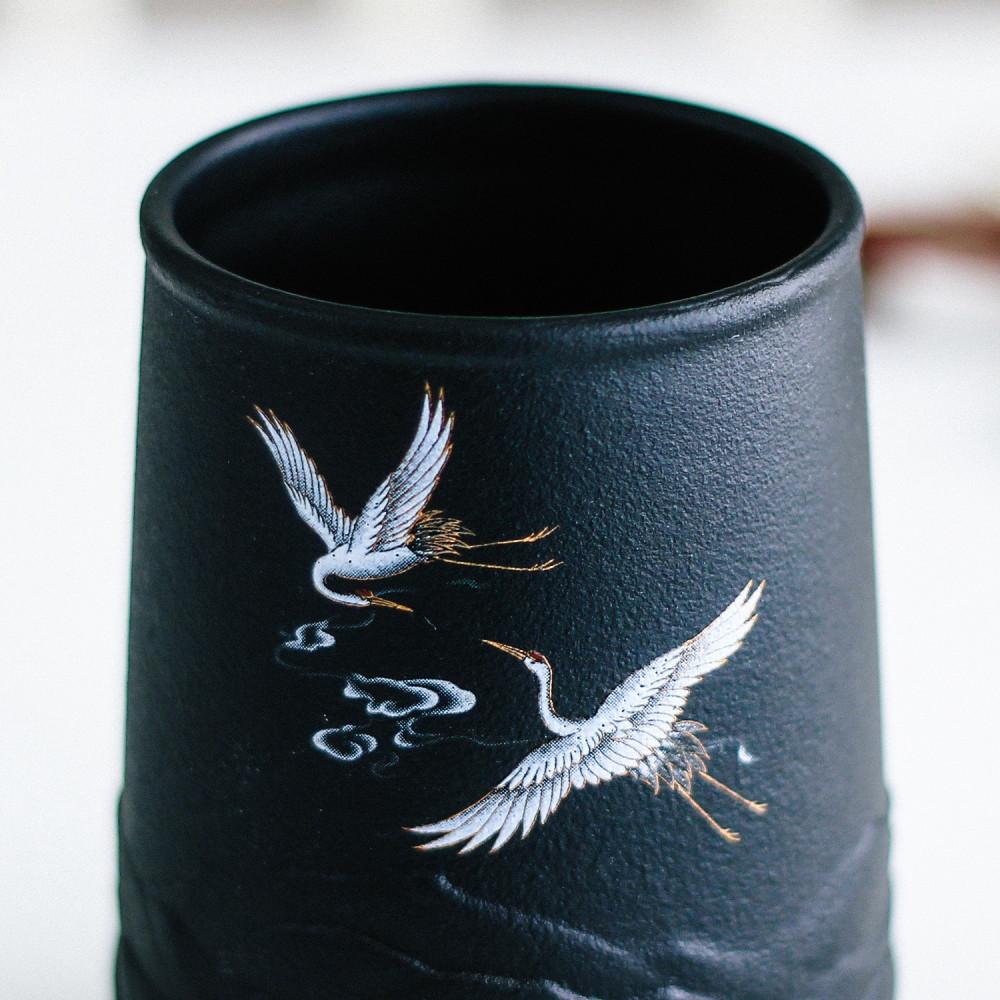 كوب لاتيه أكواب قهوة لون أسود فلامنغو طائر النورس بحر أكواب قهوة مختصة