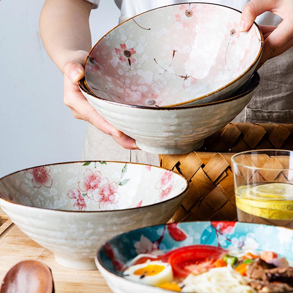 وعاء تقديم نودلز أزهار ساكورا رامن كوري أعواد أكل وعاء صحن خزف متجر