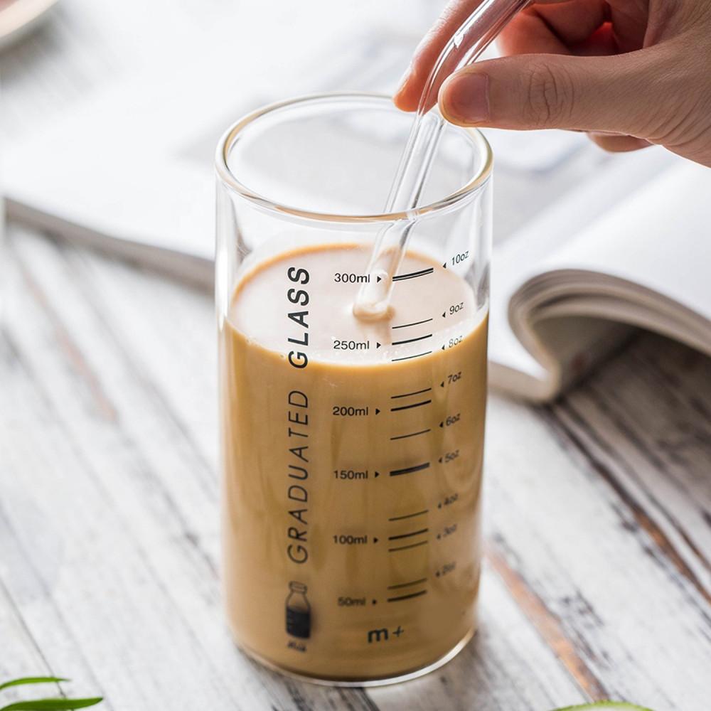 كوب زجاج قزاز للقهوة دبل طريقة القهوة الباردة كوب معياري للسوائل متجر