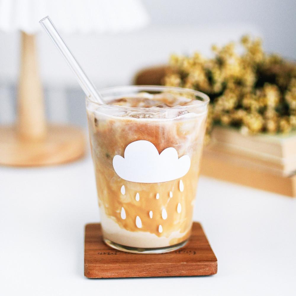 كوب قزاز غيمة مطر طريقة عمل القهوة الباردة كوب قهوة أكواب زجاجية