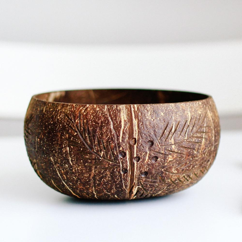 زبدية وعاء قشر جوز الهند الطبيعي Handmade Coconut Bowl متجر أواني خشب