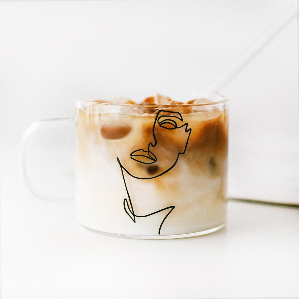 أكواب زجاج كبيرة كوب قهوة زجاجي شفاف قزاز أكواب للقهوه women رسم متجر