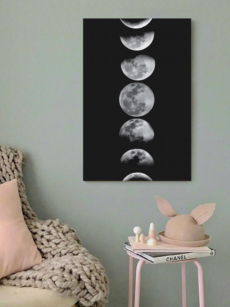 لوحة مراحل القمر خشب ام دي اف مقاس 40x60 سنتيمتر