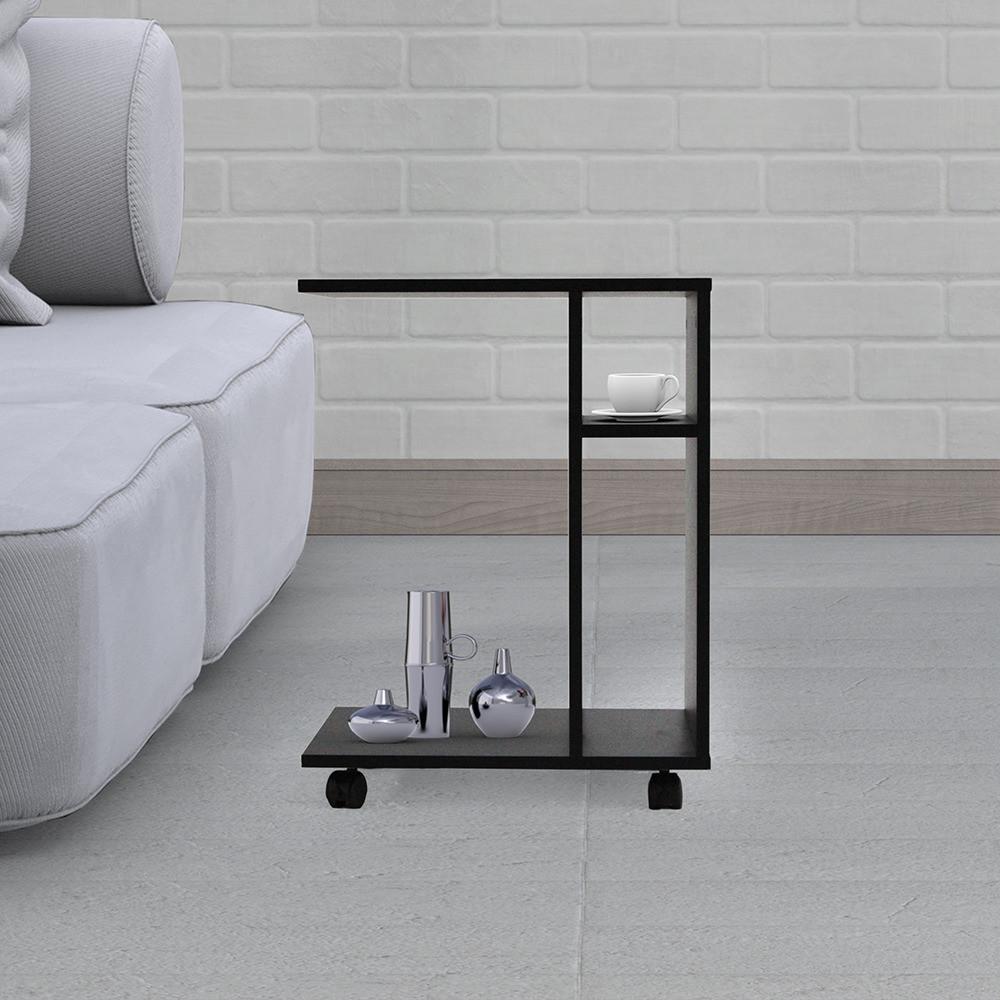طاولة جانبية متحركة موديل ديبارو خشب أسود مع2 وحدة تخزين و3 أرفف عصرية