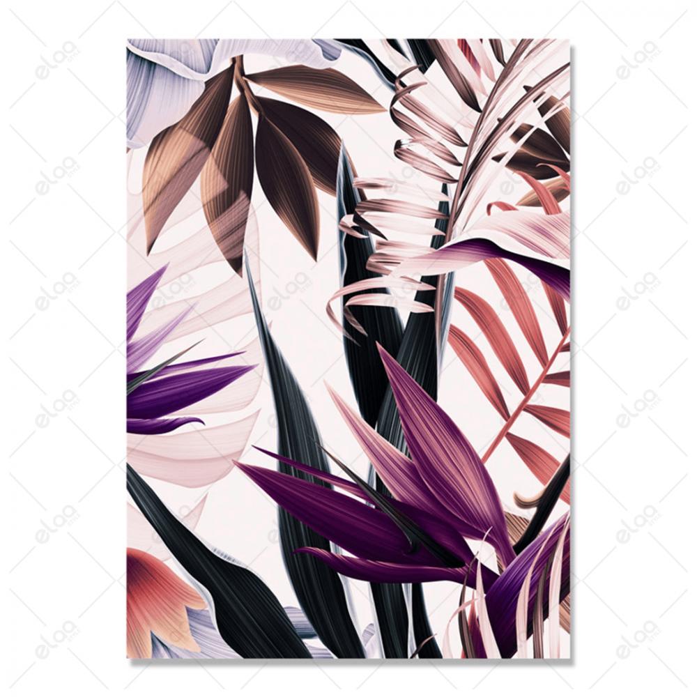 لوحة فنية منظر طبيعي لأوراق شجر بدرجات اللون الموف والوردي