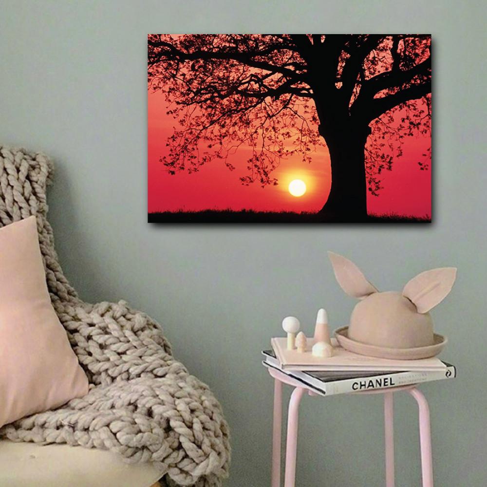 لوحة الشجرة وغروب الشمس خشب ام دي اف مقاس 40x60 سنتيمتر