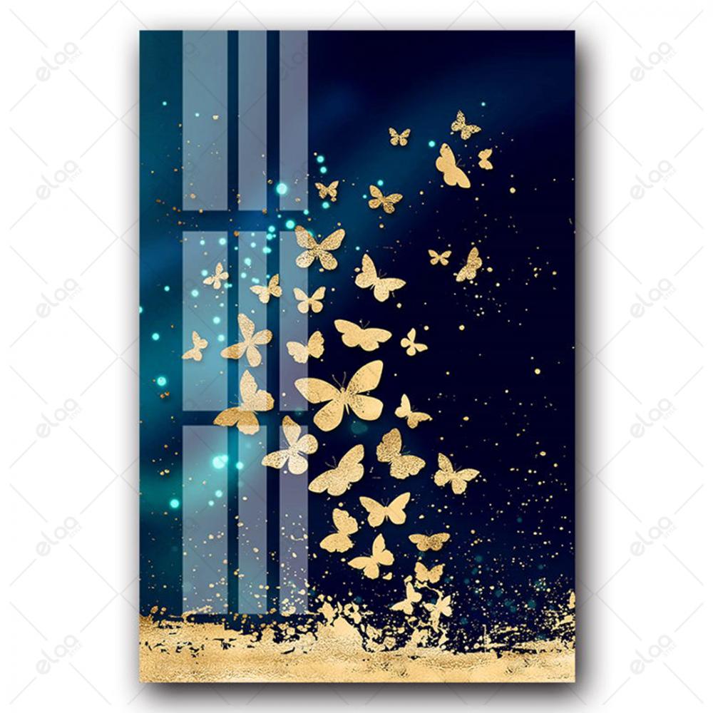 لوحات فن تجريدي لطيور مهاجرة ومجموعة فراشات باللون الذهبي بخلفية اللون