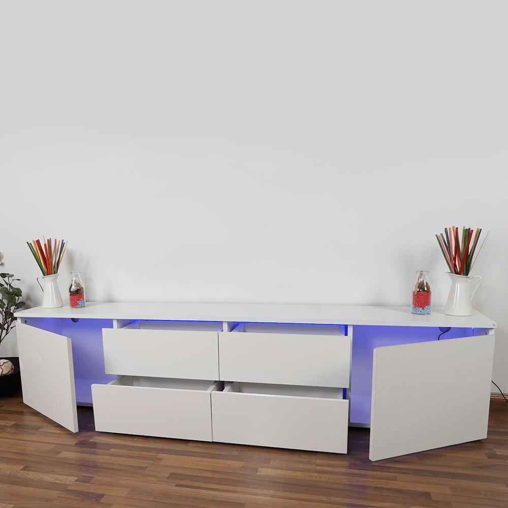 مظهر الأدراج مفتوحة في طاولة تلفاز ماركة NEAT HOME خشبية من مواسم