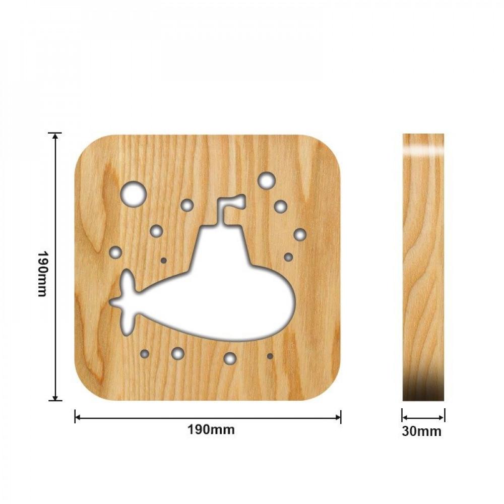 مواسم تحفة فنية خشبية شكل غواصة القياسات التفصيلية للتحفة والقاعدة