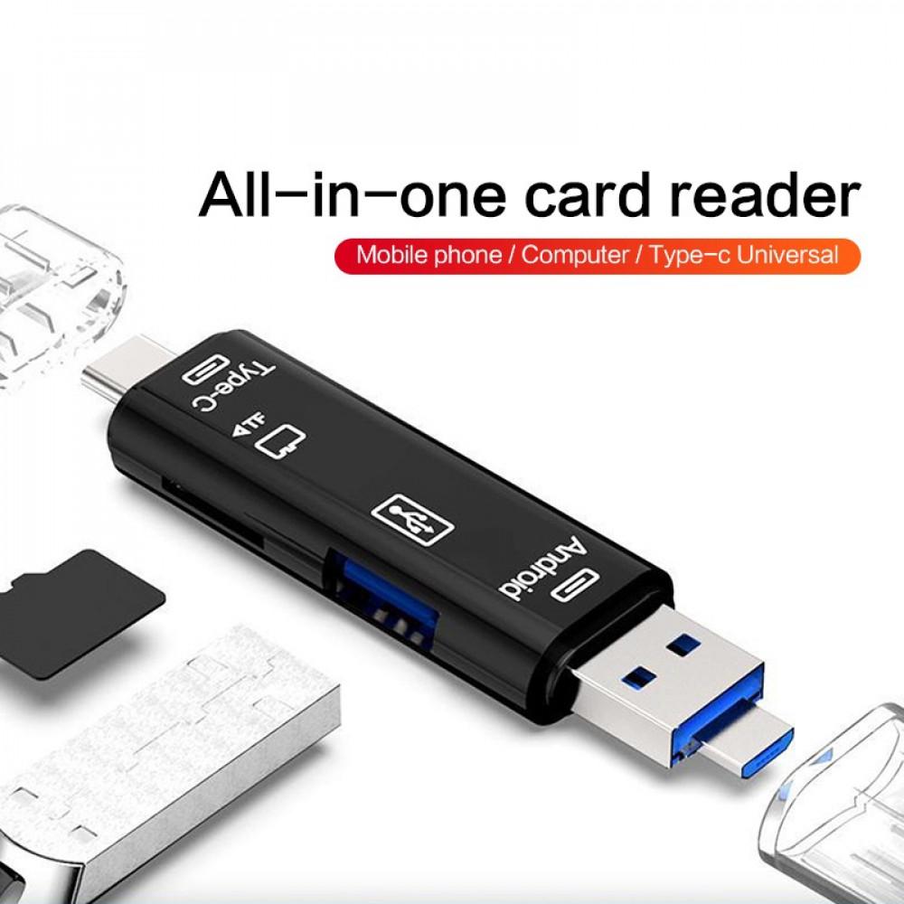 قارئ بطاقة 5 في 1 متعدد الوظائف لأجهزة الكمبيوتر والهواتف الذكية