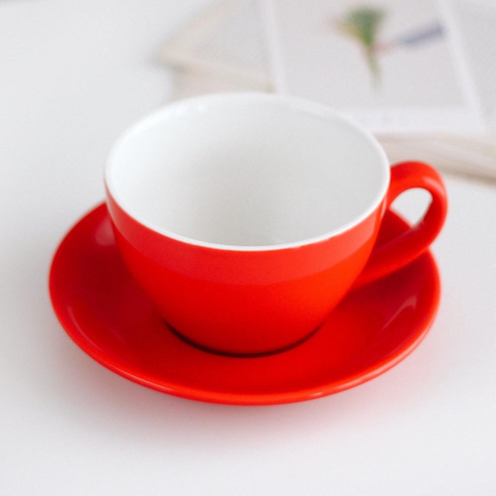 كوب سيراميك لاتيه مع صحن أكواب خزف قهوة أحمر هدية هدايا ركن القهوة