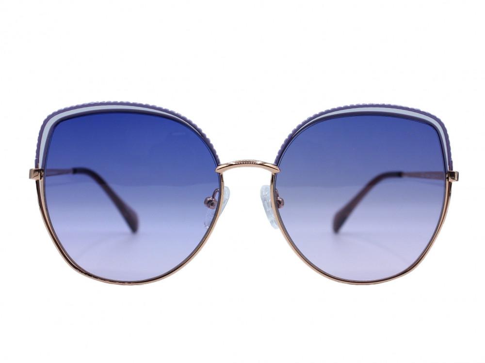 نظارة شمسية ماركة RETRO نسائية لون العدسة موف والاطار موف وذهبي مقاومة