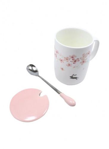 كوب قهوة وشاي من السيراميك مطبوع من 3 قطع مع غطاء وملعقة وردي / أبيض