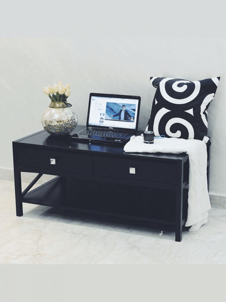 طاولة خشب متعددة الاستخدام موديل  Neat Home بدرجين ورف بتصميم مودرن