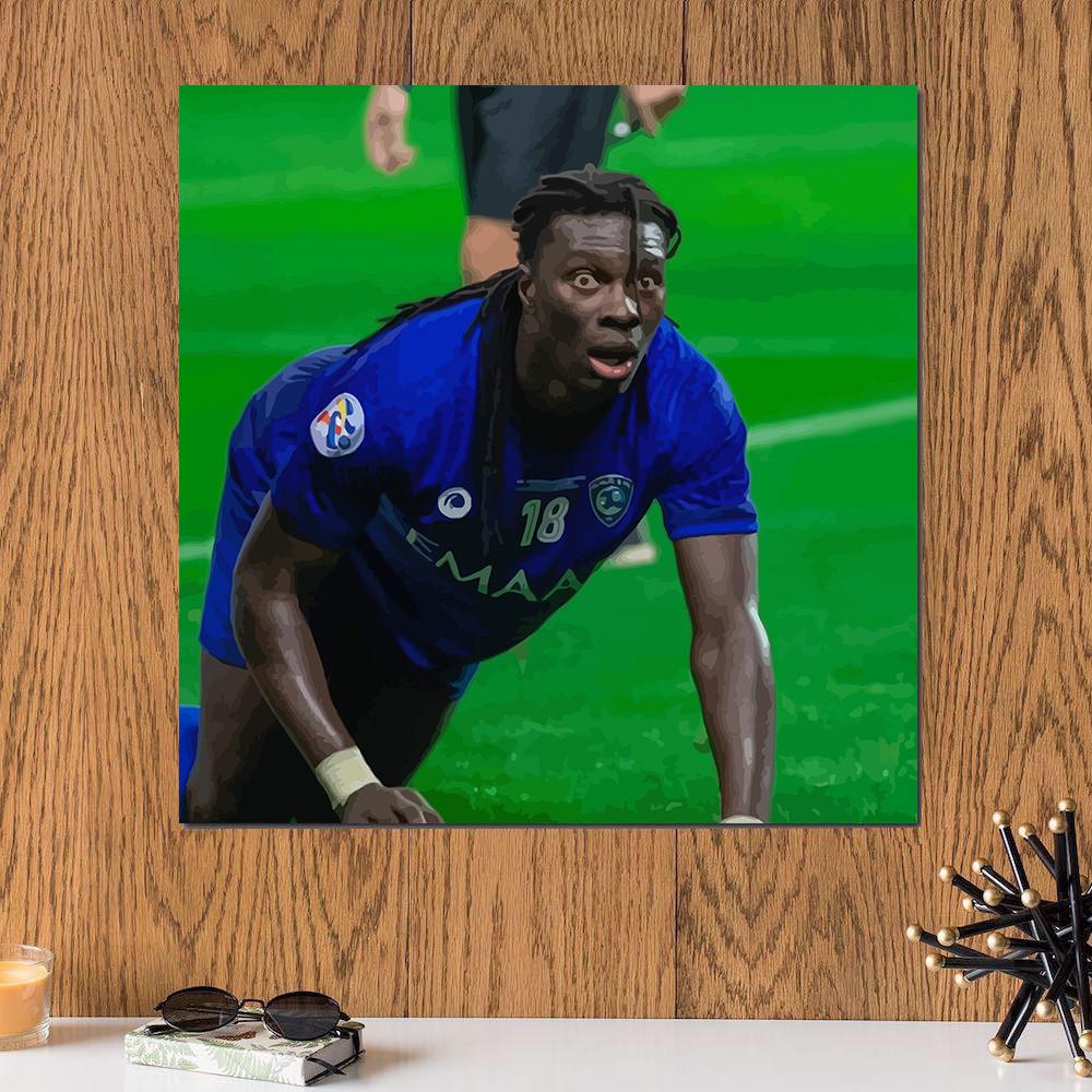 لوحة لاعب نادي الهلال غوميز خشب ام دي اف مقاس 30x30 سنتيمتر
