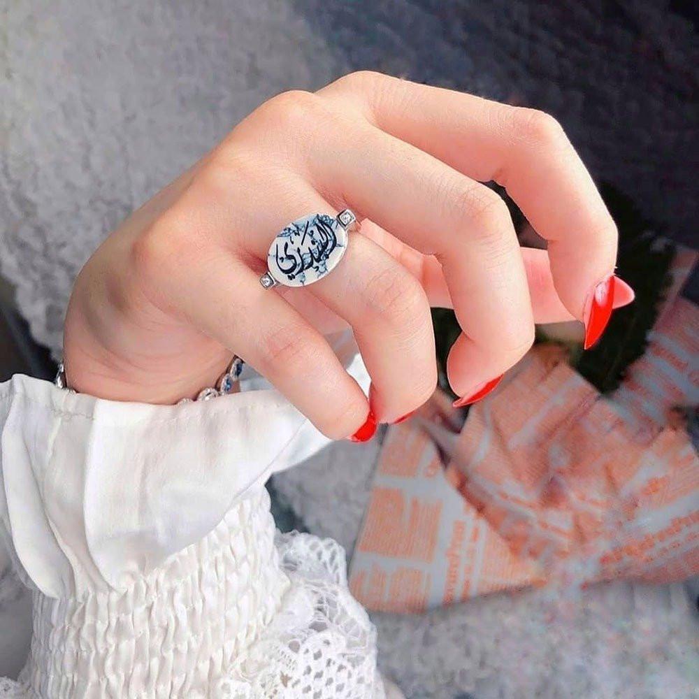 خاتم ملكي راقي من الفضة الخالصة مطعم بفصوص زركون أنيقة