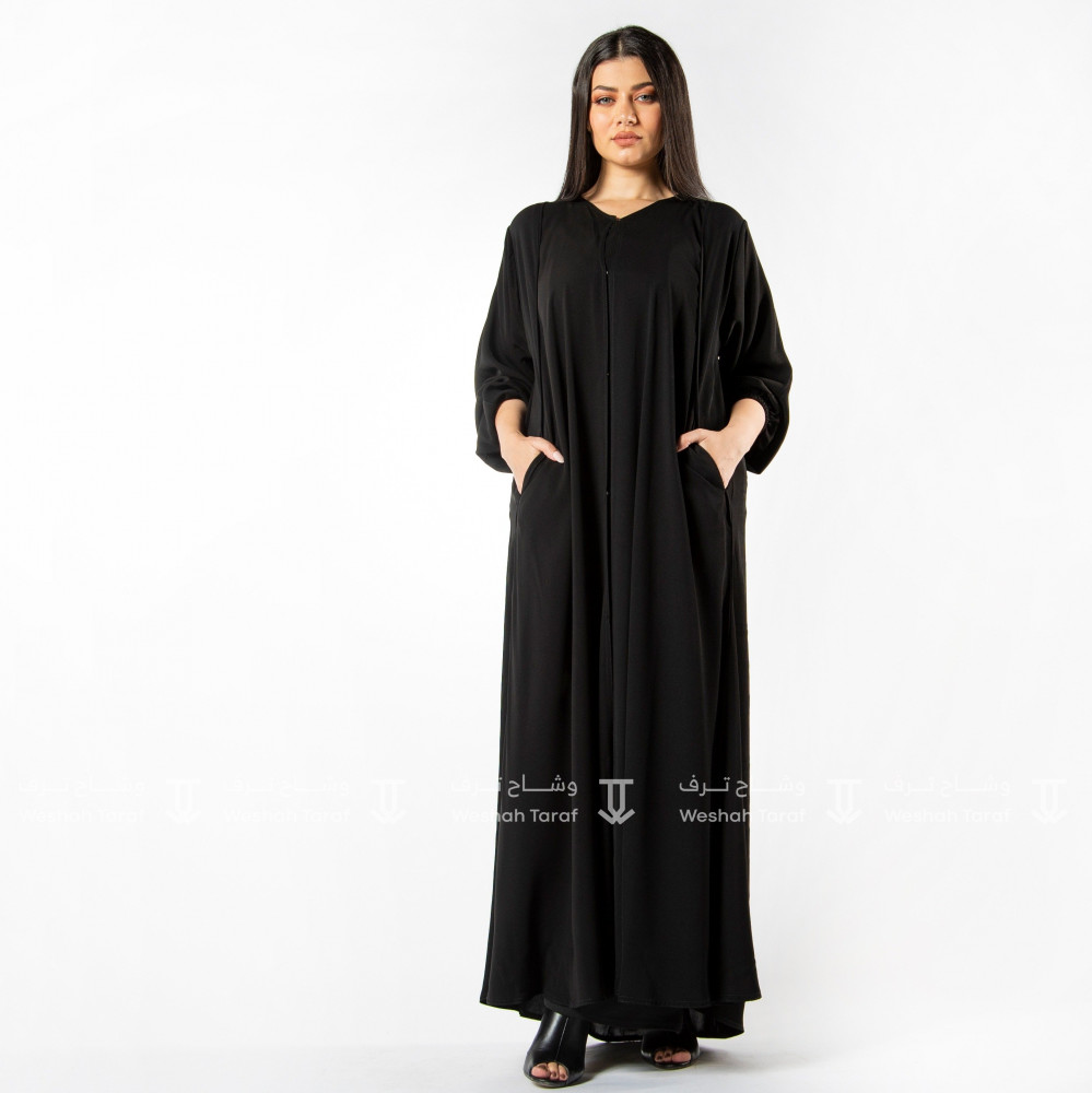 عباية قماش ملكي  فتنام سادة كم مطاط بجيوب كسرة من الخلف