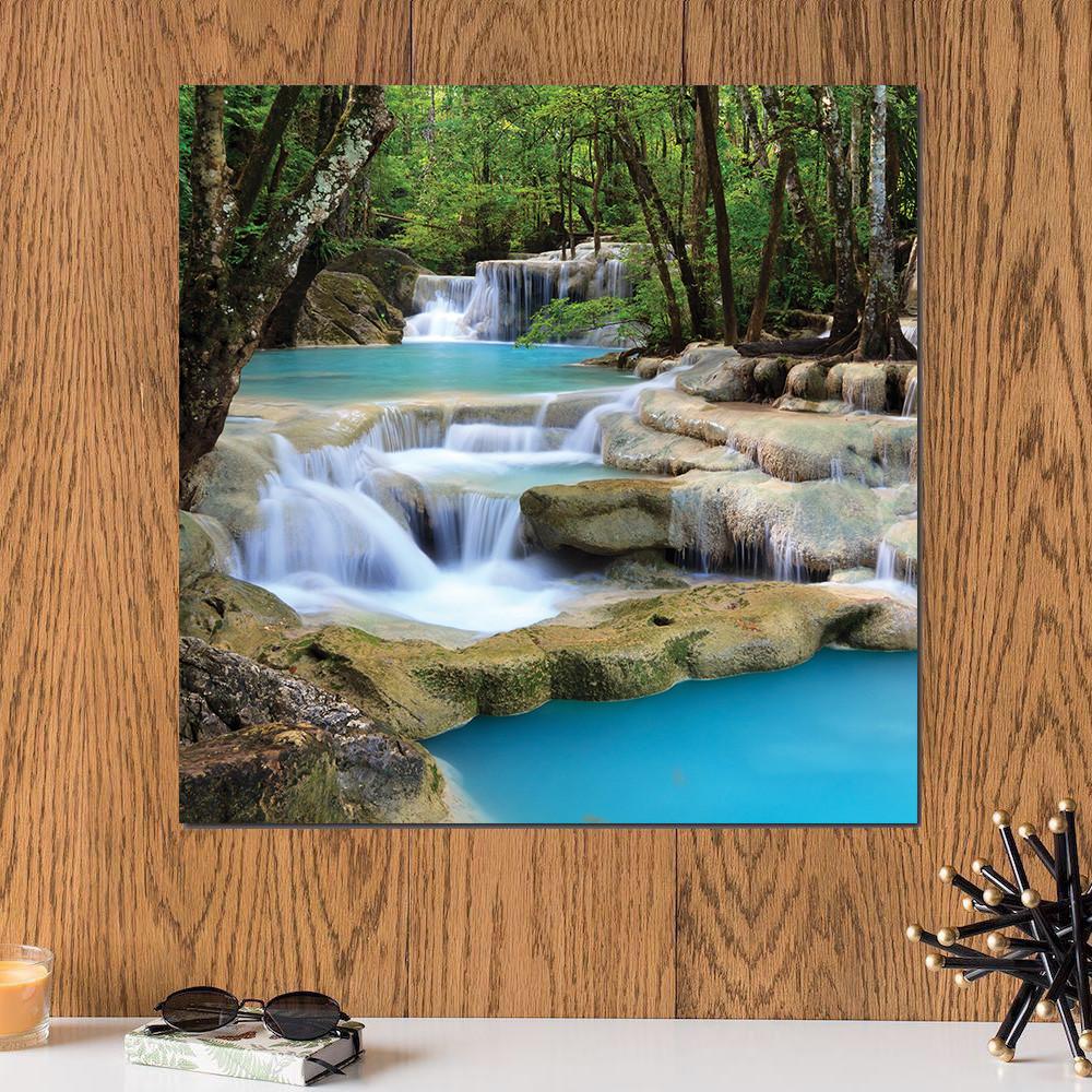 لوحة شلال خشب ام دي اف مقاس 30x30 سنتيمتر