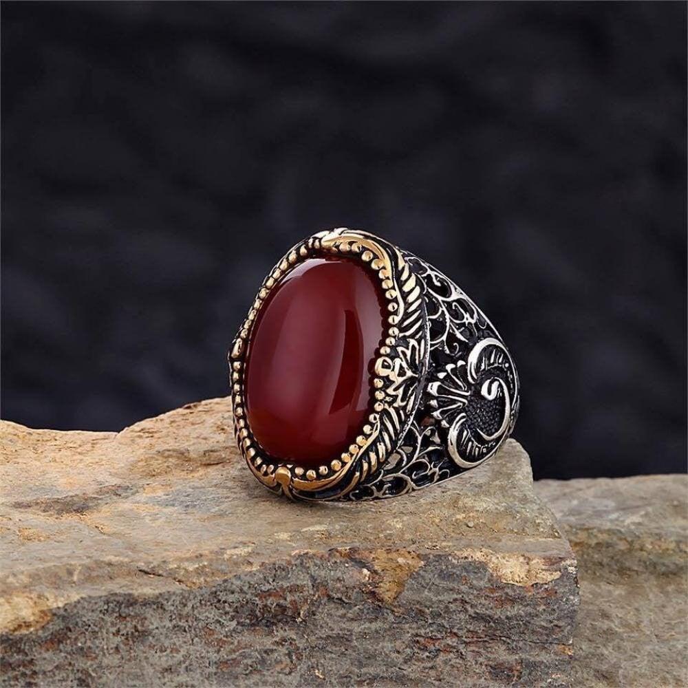 خاتم راقي بحجر عقيق طبيعي