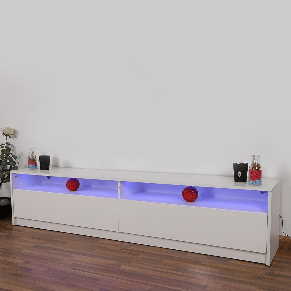 طاولة تلفاز عصرية من الخشب particle board بخزانتين وإضاءة هادئة مواسم