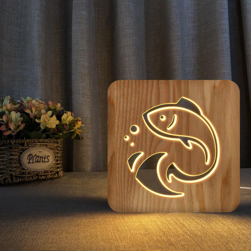 مواسم تحفة فنية مضيئة على شكل سمكة مصنوعة من الخشب بإضاءة ليد مميزة