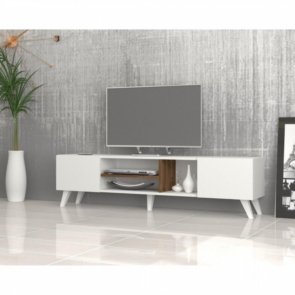 تجارة بلا حدود طاولة تلفاز بأرجل من البلاستيك لون أبيض مع البني