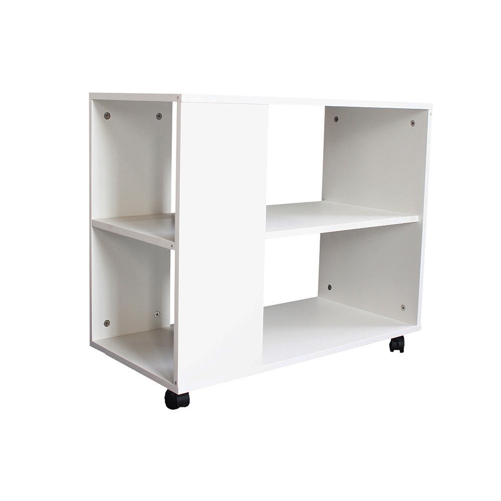صورة طاولة جانبية متحركة موديل ستيلو خشب أبيض2 وحدة تخزين و3 أرفف مميز
