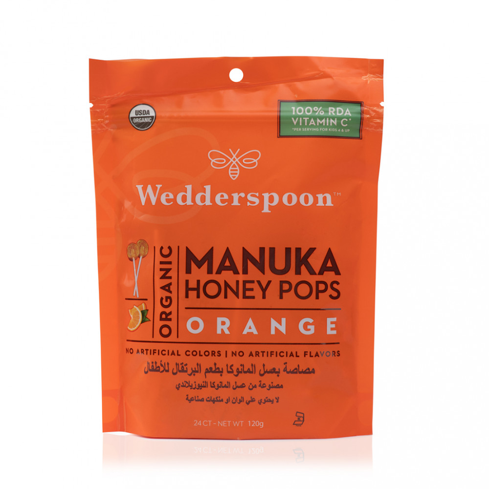 حلوى مصاصه بالعسل المانوكا و البرتقال Manuka Honey Pops Orange Medalife